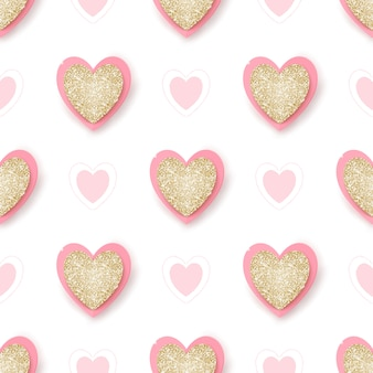 Realistic golden glittering and pink hearts on white, hand drawn elements, seamless background.