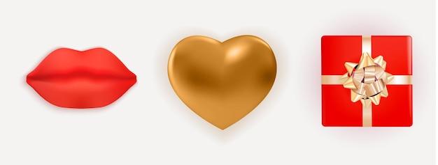 リアルな金色の光沢のあるメタルハート、赤い唇、リボンとリボン付きのギフトボックス。デザイン要素セット