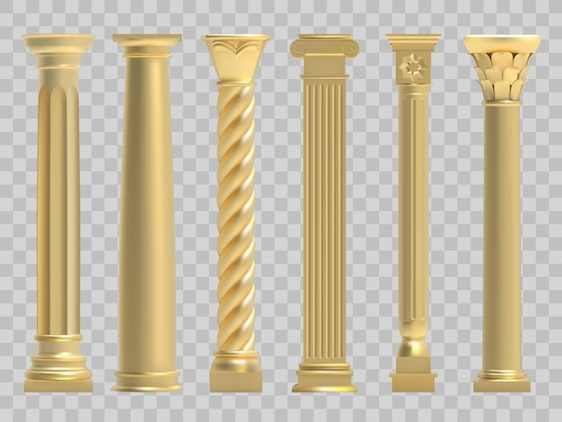 Realistic golden greek ancient column illustration set