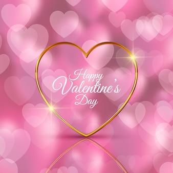 Реалистичное золотое сердце день святого валентина фон