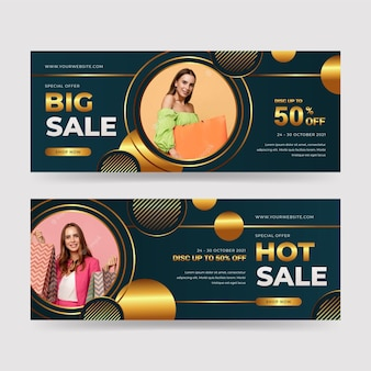 Realistic golden horizontal luxury banners set with photo