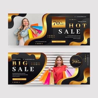 Banner di lusso orizzontali dorati realistici con foto