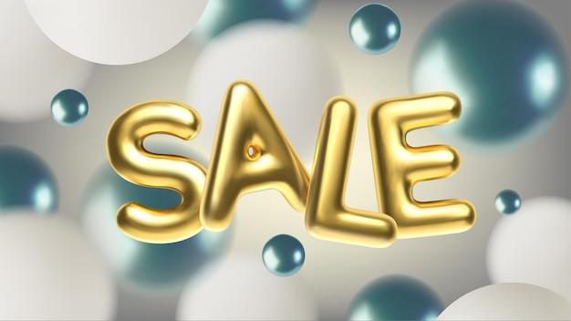 Реалистичная продажа с золотой надписью абстрактная иллюстрация с синими и белыми сферами