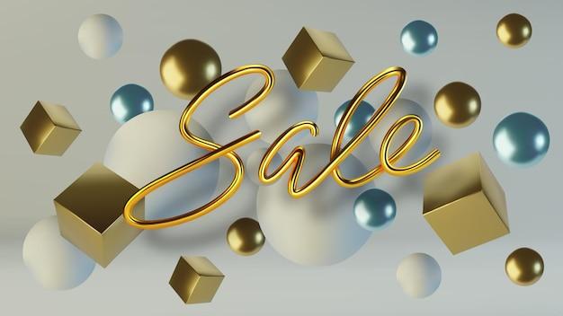 Реалистичная золотая надпись продажа фон из золотых шаров и кубиков.