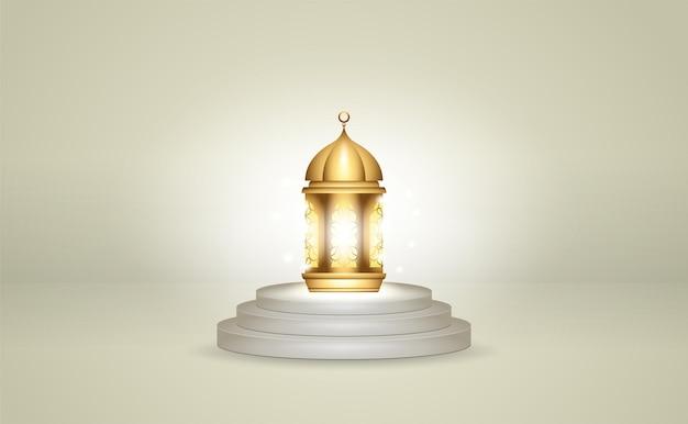 表彰台にリアルな黄金のランタン