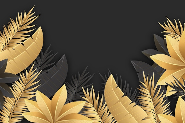 Реалистичные золотые листья фон