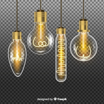 Realistic golden light bulbs