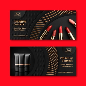 Realistic golden luxury banners with photo