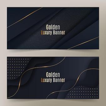 Realistic golden luxury banners