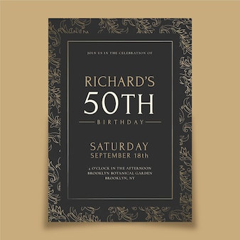 Invito di compleanno di lusso dorato realistico