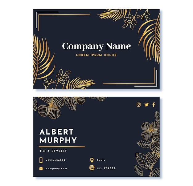 Realistic golden luxury business card template