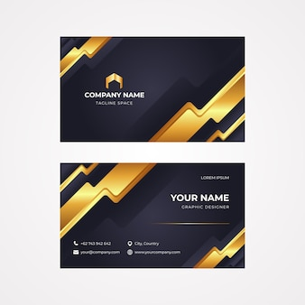 Realistic golden luxury business cards