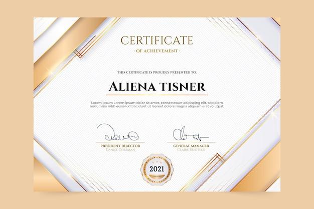 Реалистичный золотой роскошный шаблон сертификата