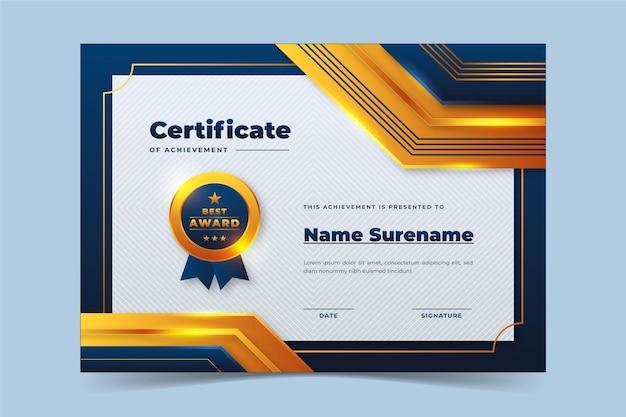 Realistic golden luxury certificate