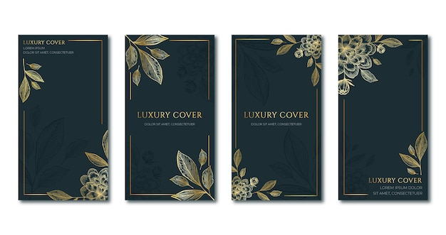 Realistic golden luxury covers collection