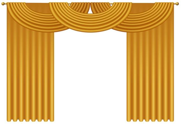 Реалистичные золотые роскошные шторы и драпировки изолированы