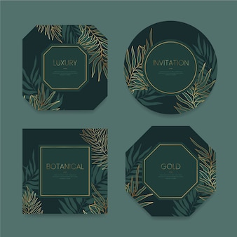 Realistic golden luxury frame collection Free Vector