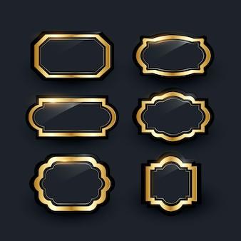 Collezione realistica di cornici di lusso dorate