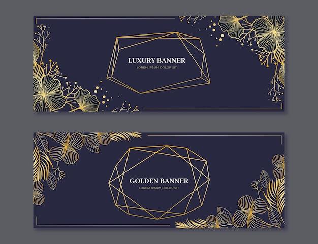 Set di banner orizzontali di lusso dorato realistico