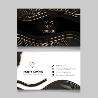 Realistic golden luxury horizontal business card template