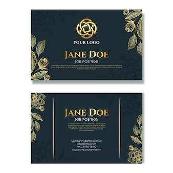 Реалистичный золотой роскошный горизонтальный шаблон визитной карточки