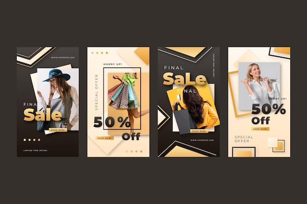 Realistic golden luxury instagram stories collection with photo