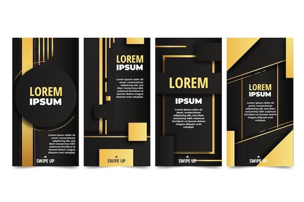 Realistic golden luxury instagram stories collection