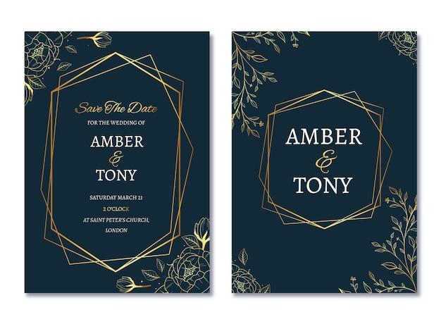 写真付きのリアルな黄金の豪華な結婚式の招待状のテンプレート