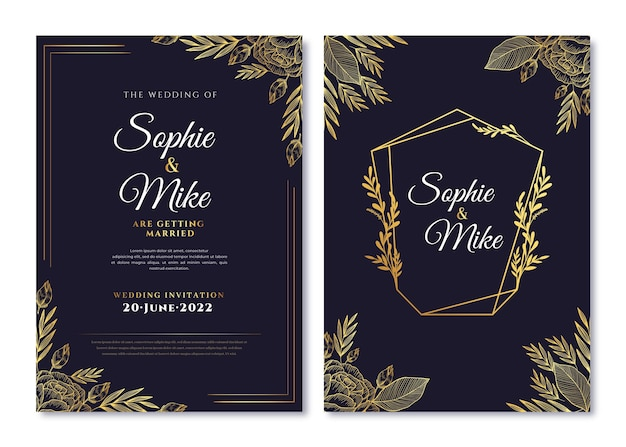 Realistic golden luxury wedding invitation template with photo