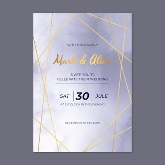 Realistic golden luxury wedding invitation template