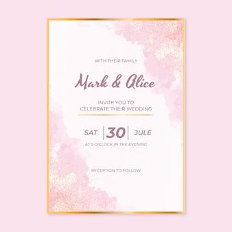 Реалистичный золотой роскошный свадебный шаблон приглашения
