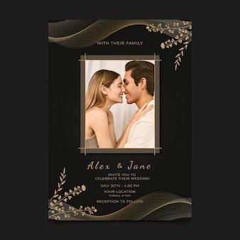 写真付きのリアルな黄金の豪華な結婚式の招待状