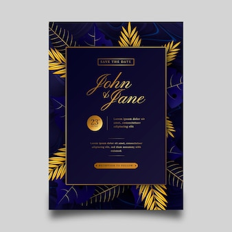 Realistic golden luxury wedding invitation