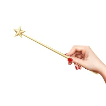 Bacchetta magica dorata realistica con la stella in mano femminile sull'illustrazione bianca di vettore del fondo