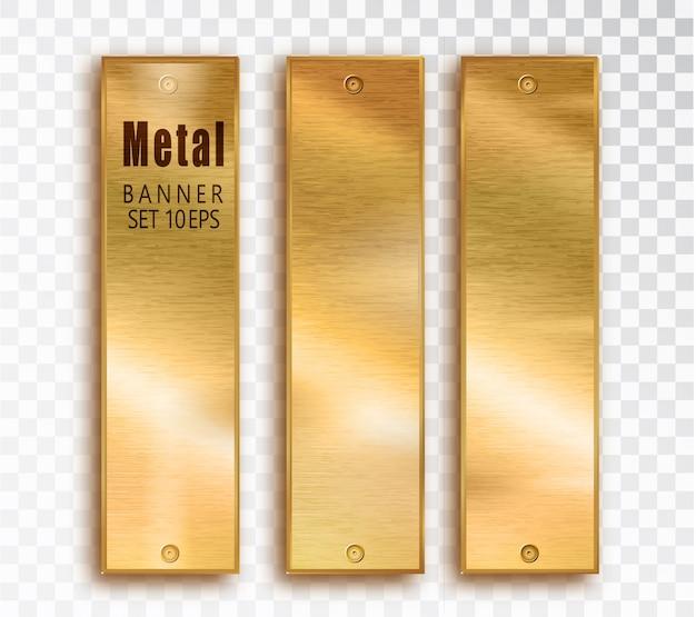 Realistic golden metal banner composition