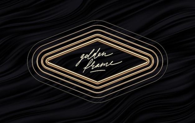 Реалистичная золотая металлическая рамка-ромб на черном фоне жидких волн. золотые ромбы.