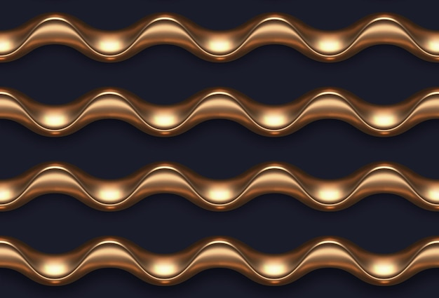Реалистичные золотые металлические волны бесшовные модели