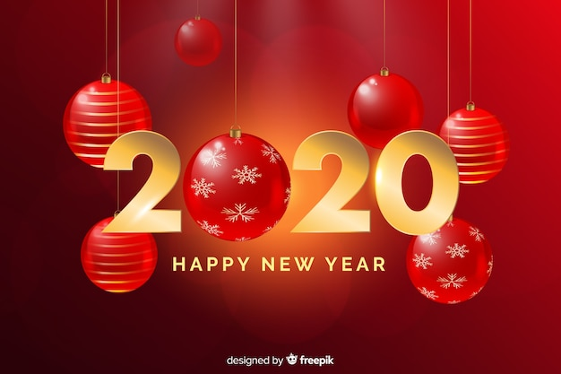 Realistic golden new year 2020 lettering with christmas red globes