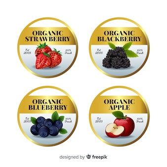 Realistic golden organic food label pack