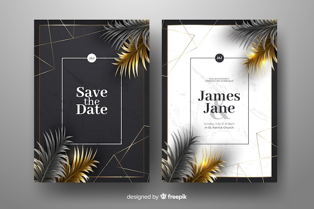 Realistic golden palm leaves wedding invitation template