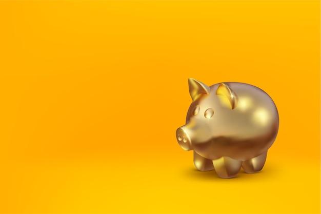 Реалистичная золотая свинья-копилка изолирована на желтом