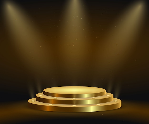 Realistic golden platform