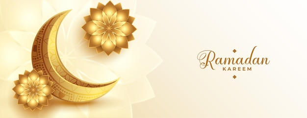 Realistic golden ramadan kareem banner with moon and flower
