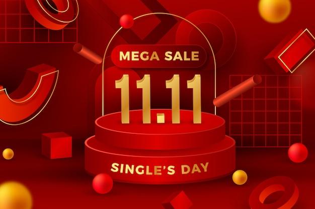 Sfondo realistico del giorno del single dorato e rosso