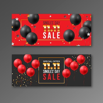 Realistic golden and red single's day horizontal banners set