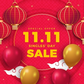 Realistic golden and red single's day sale background