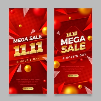 Realistic golden and red single's day vertical banners set
