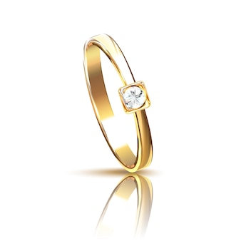 Realistic golden ring with diamond