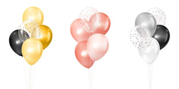 Realistic golden, rose and silver bunches of helium balloons isolated on white background
