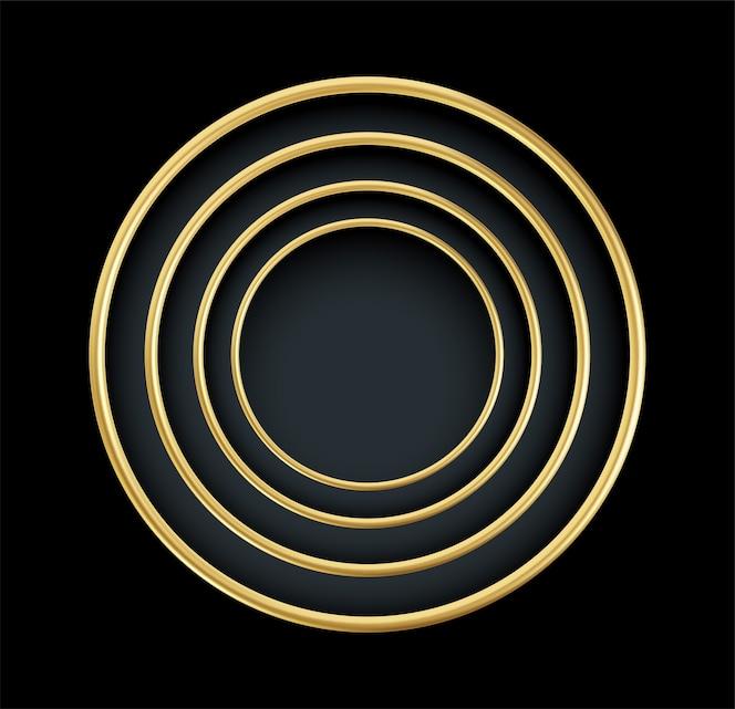 黒の背景に分離されたリアルな金色の丸いフレーム。豪華なゴールドの装飾要素。